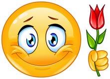 Emoticon met bloem royalty-vrije illustratie