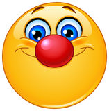 Emoticon met clownneus Stock Foto