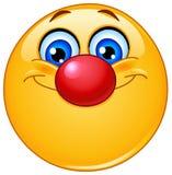 Emoticon met clownneus Stock Foto