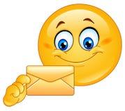 Emoticon met envelop vector illustratie