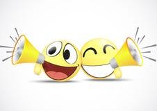 Emoticon met het concept van de sprekers.business handel Royalty-vrije Stock Afbeeldingen