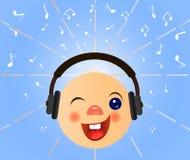 Emoticon met hoofdtelefoons luistert muziek Royalty-vrije Stock Fotografie
