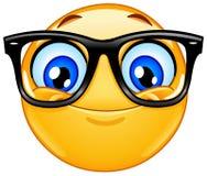 Emoticon met oogglazen stock illustratie