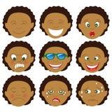 Emoticon mezclado Emoji del muchacho del Afro foto de archivo libre de regalías