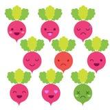 Emoticon minimalistic sveglio del ravanello Fotografia Stock Libera da Diritti