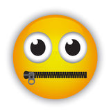Emoticon with a mouth fastened with a zipper Stock Photo