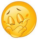 Emoticon nascondentesi di sorriso Fotografia Stock Libera da Diritti