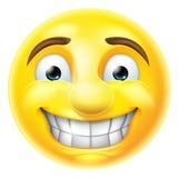 Emoticon nervoso de Emoji sorrir forçadamente Imagens de Stock Royalty Free