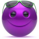 Emoticon púrpura azul de la esfera de la bola de la cabeza alegre sonriente de la cara ilustración del vector