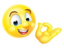 Emoticon perfecto aceptable de Emoji de la muestra Fotografía de archivo libre de regalías