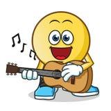 Emoticon playing guitar mascot vector cartoon illustration. This is an original character Stock Photos