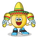 Emoticon playing maracas and wearing a sombrero mascot vector cartoon illustration. This is an original character Stock Photo