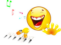 Emoticon playing the piano Royalty Free Stock Image