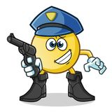 Emoticon police holding gun mascot vector cartoon illustration. This is an original character Stock Images