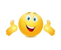 Emoticon presenting with his hands Royalty Free Stock Photo