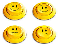 Emoticon push button. On white Royalty Free Stock Photography