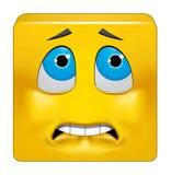 Emoticon quadrado receoso ilustração stock
