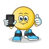 Emoticon que celebra el ejemplo de la historieta del vector de la mascota del teléfono ilustración del vector