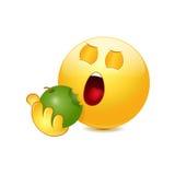 Emoticon que come la manzana stock de ilustración