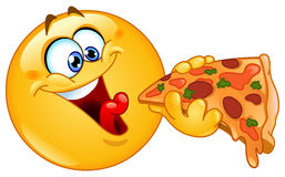 Emoticon que come a pizza Imagens de Stock Royalty Free