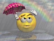 Emoticon rain and umbrella - 3d render Royalty Free Stock Photos