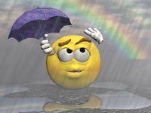 Emoticon rain and umbrella - 3d render Royalty Free Stock Photo