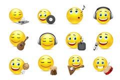 Emoticon rappresentati con i vari strumenti musicali Fotografie Stock Libere da Diritti
