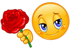 Emoticon with rose Stock Photography