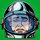 Emoticon sadness Emoji face man astronaut retro Stock Photo