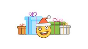 Emoticon in santa claus hat and gift boxes. Alpha channel