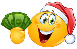 Emoticon with santa hat and dollars stock illustration