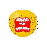 Emoticon screams. Open mouth and teeth. Crazy Emoji. emotion yel. L. Yellow ball head Stock Photo