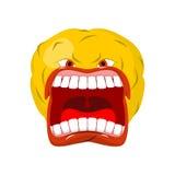 Emoticon screams. Open mouth and teeth. Crazy Emoji. emotion yel. L. Yellow ball head Stock Photos