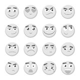 Emoticon set. Collection of Emoji. 3d emoticons. Smiley face icons isolated. Monochrome emoticon set. Collection of Emoji. 3d emoticons. Smiley face icons Royalty Free Stock Photography