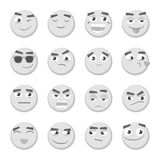 Emoticon set. Collection of Emoji. 3d emoticons. Smiley face icons isolated. Monochrome emoticon set. Collection of Emoji. 3d emoticons. Smiley face icons Stock Images
