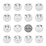 Emoticon set. Collection of Emoji. 3d emoticons. Smiley face icons isolated on white background. Vector. Monochrome emoticon set. Collection of Emoji. 3d Royalty Free Stock Image