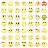 Emoticon set. Collection of Emoji. 3d emoticons. Smiley face icons isolated on white background. Vector. Yellow big emoticon set. Collection of Emoji. 3d Stock Images