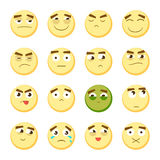 Emoticon set. Collection of Emoji. 3d emoticons. Smiley face icons  on white background. Vector. Yellow emoticon set. Collection of Emoji. 3d emoticons. Smiley Stock Photography