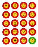 Emoticon set. Emoji flowers. Flower with emoji faces. Flower emoticon colection. Feelings expresion. Red cheerful flowers. Vector eps10 stock illustration