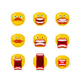 Emoticon set. Open mouth and teeth. Crazy Emoji. Emotion screams Royalty Free Stock Photography