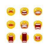 Emoticon set otwarci usta zęby Szalony emoji Emocja wrzaski ilustracja wektor