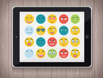 Emoticon set with realistic Tablet PC. Emoticon for web site, chat, sms. Modern flat design. Vector. Illustration Stock Image
