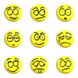 Emoticon set yellow. Set of yellow emoticons 3d on a white background Stock Photos