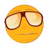Emoticon som är ledsen i solglasögon på vit bakgrund Arkivfoto