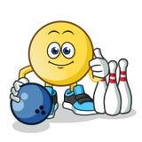 Emoticon som spelar illustrationen för tecknad film för bowlingmaskotvektor royaltyfri illustrationer