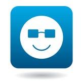 Emoticon sonriente en el icono de las gafas de sol, estilo simple Imagen de archivo