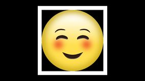 Emoticon sorridente con gli occhi felici e le guance ottimistiche sul contesto verde illustrazione vettoriale