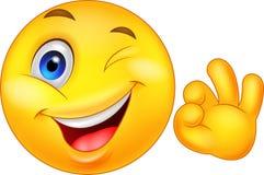 Emoticon sorridente con il segno giusto Fotografie Stock Libere da Diritti