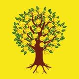 Emoticon sorridenti sotto forma di frutti su un albero Immagini Stock Libere da Diritti