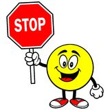 Emoticon with Stop Sign. Vector illustration of a Emoticon with a Stop Sign Stock Photo